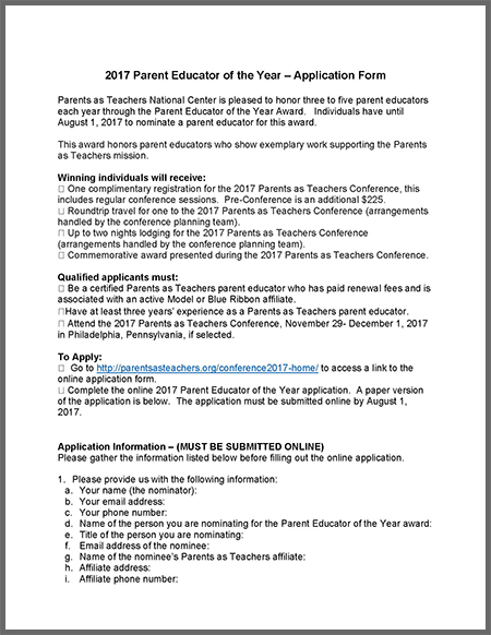 Download the 2017 PE of the Year Application Questions here. Collect all answers to these questions BEFORE starting the online application process.