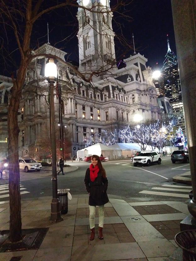 Noelia Alvarez in front of Philadelphia City Hall