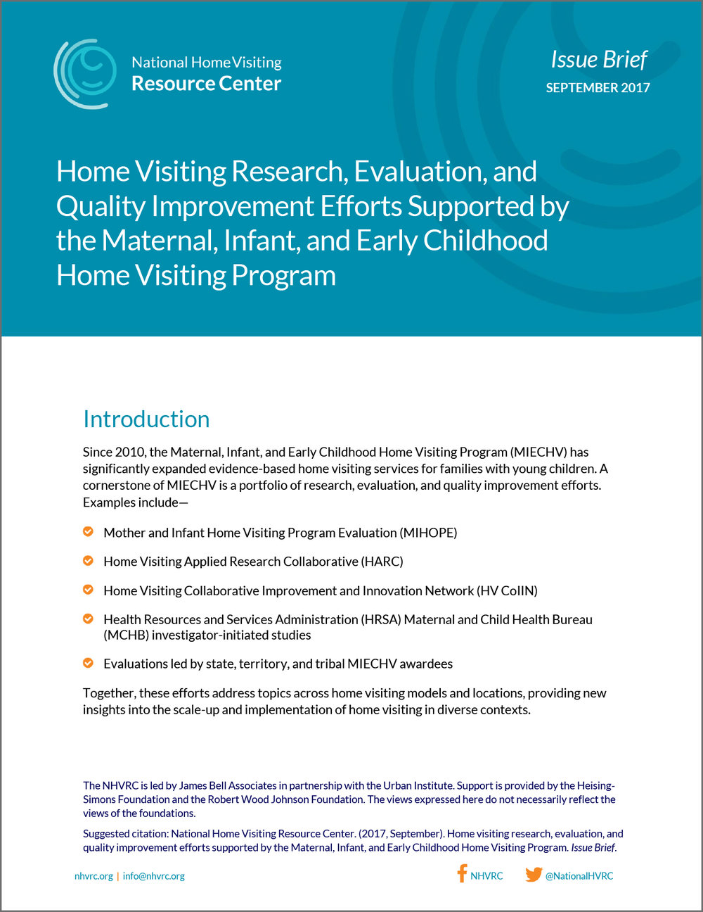 NHVRC Issue Brief, Home Visiting Research, Evaluation, and Quality Improvement Efforts Supported by the Maternal, Infant, and Early Childhood Home Visiting Program