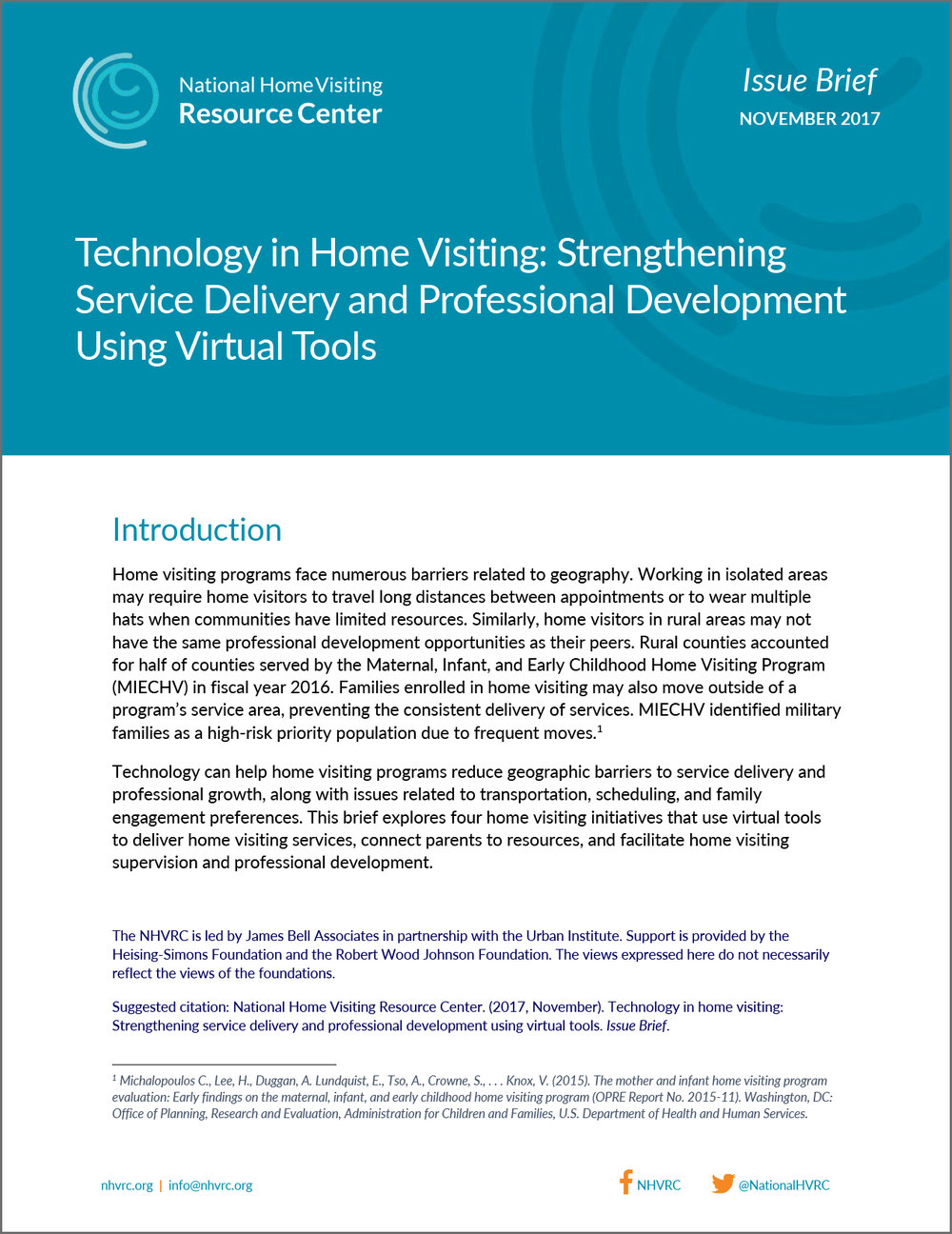 NHVRC Issue Brief, Technology in Home Visiting: Strengthening Service Delivery and Professional Development Using Virtual Tools