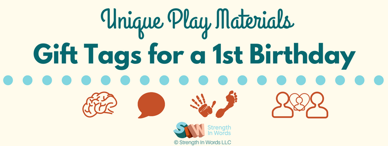Unique Play Materials: Gift Tags for a First Birthday