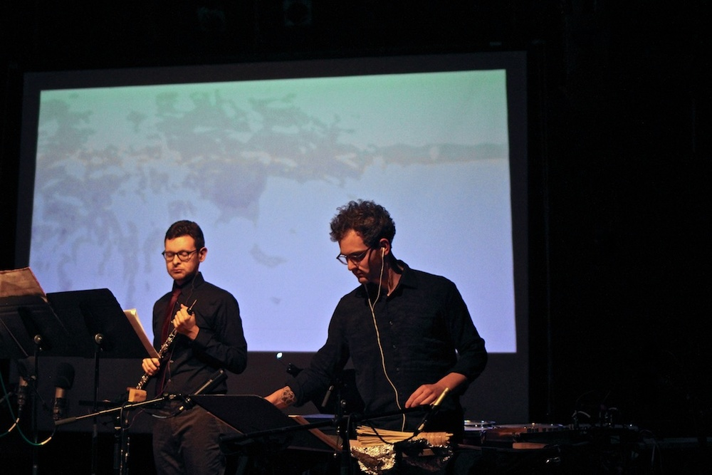 "World premiere of Bethany Younge's ""Bodyscape,"" accompanied by a video. Pictured: Jonathan Thompson, oboe; Ryan Packard, percussion."
