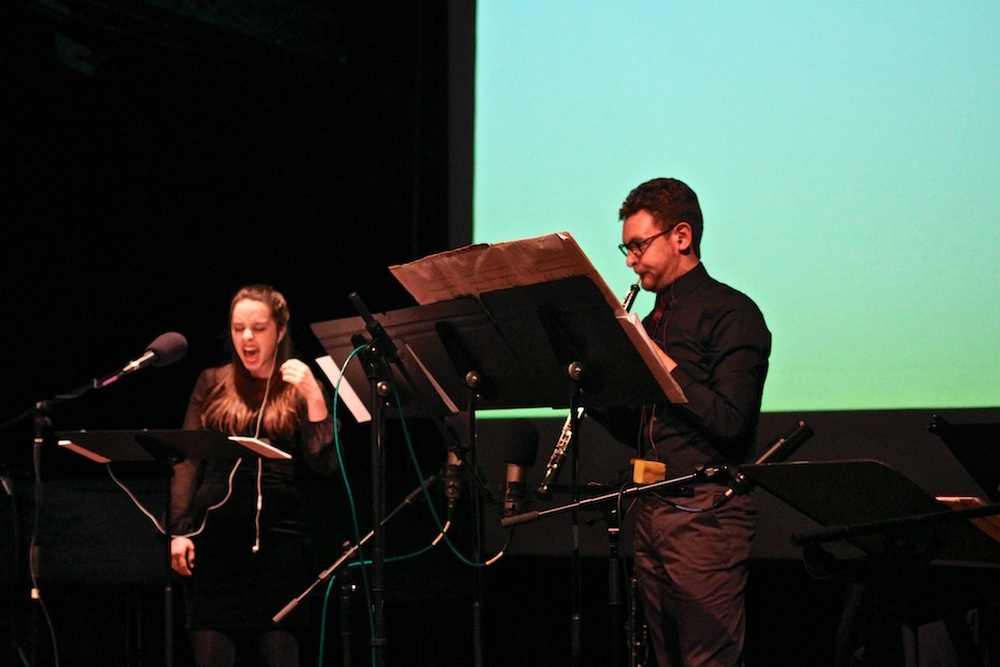 "World premiere of Bethany Younge's ""Bodyscape,"" accompanied by a video. Pictured: Nina Dante, soprano; Jonathan Thompson, oboe."