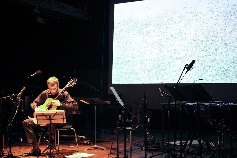 "Pablo Chin's ""A Rayas y Cuadros,"" based on drawings by Theresa Chong.  Pictured: Samuel Rowe, guitar."