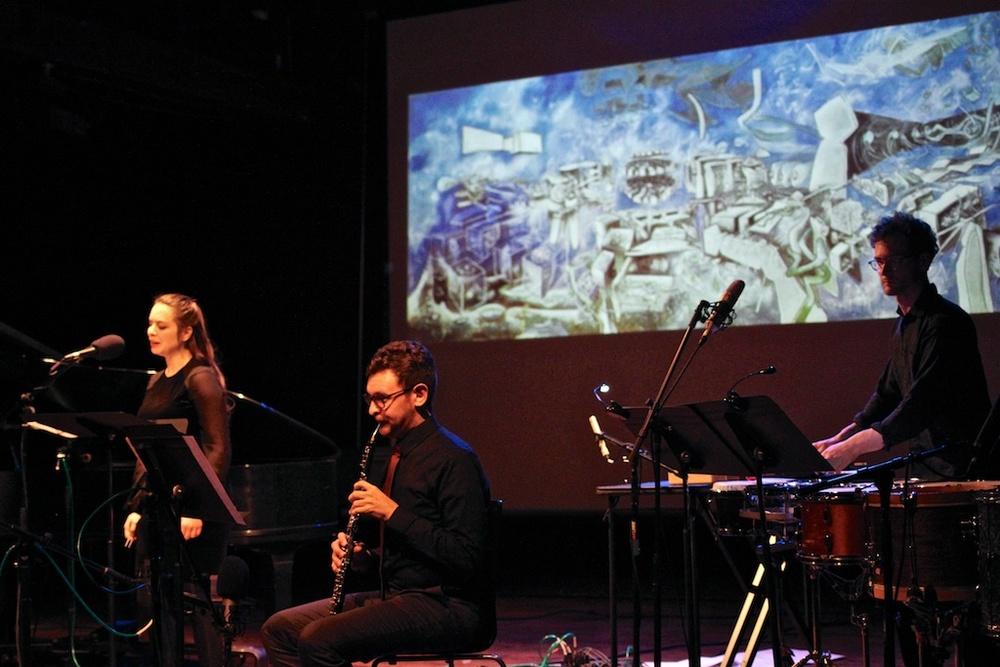 "Richard Barrett 's ""Coïgitum,"" inspired by a surrealist painting by Roberto Matta that reflects the history of Augusto Pinochet's oppressive dictatorship.  Pictured: Dalia Chin, flutes; Daniel Walden, piano; Nina Dante, soprano; Ryan packard, percussion"