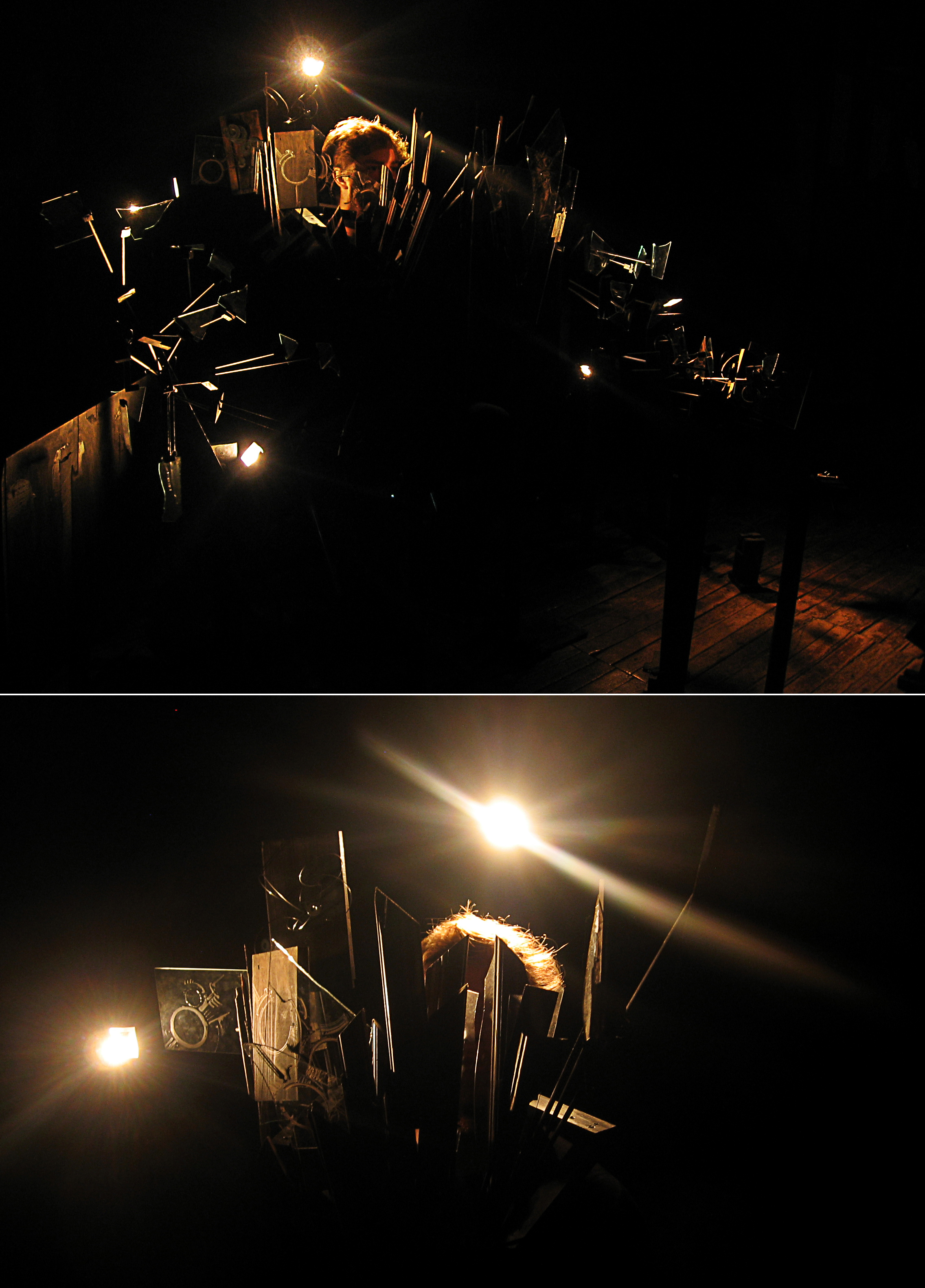 April 2015 - Nick Meryhew performing within a dark scene of sculptures and a large headdress made of wood and glass (artwork by Shawn Lucas).