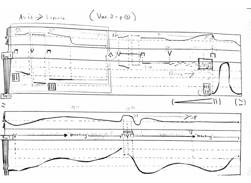 score excerpt of Luis Fernando Amaya's  Objeto/Espacio no.2: Variaciones y Bagatelas  for solo bass. 2016.