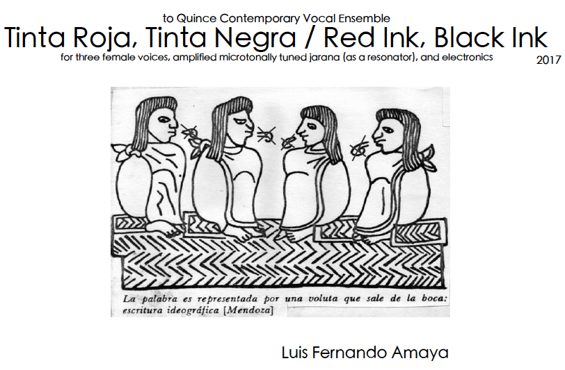 Front cover of the score of Tinta Roja, Tinta Negra / Red Ink, Black Ink