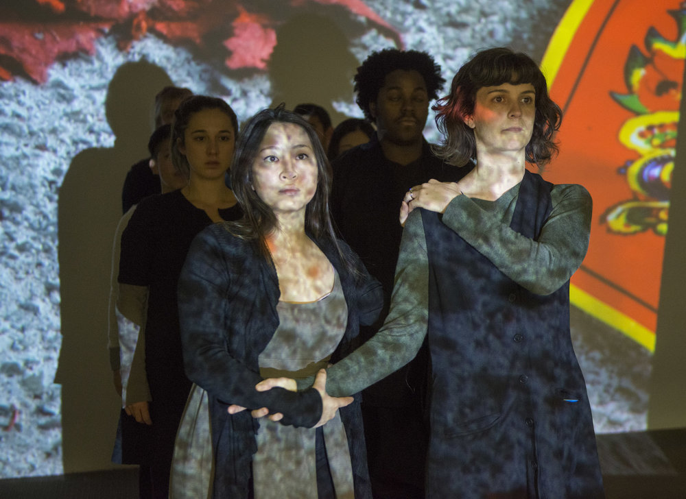 (front, l to r)Sarah Lo and Lucy Carapetyan with the cast of Pivot Arts' world premiere of DON'T LOOK BACK/MUST LOOK BACK. Photo by Michael Brosilow.