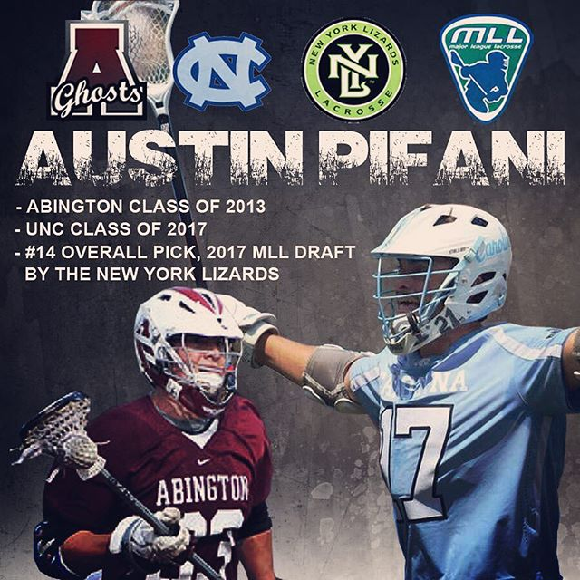 Congrats to Abington alum Austin Pifani (2013) on being selected 14th overall in the 2017 MLL draft by the @nylizards #GoGhosts #Family @uncmenslacrosse