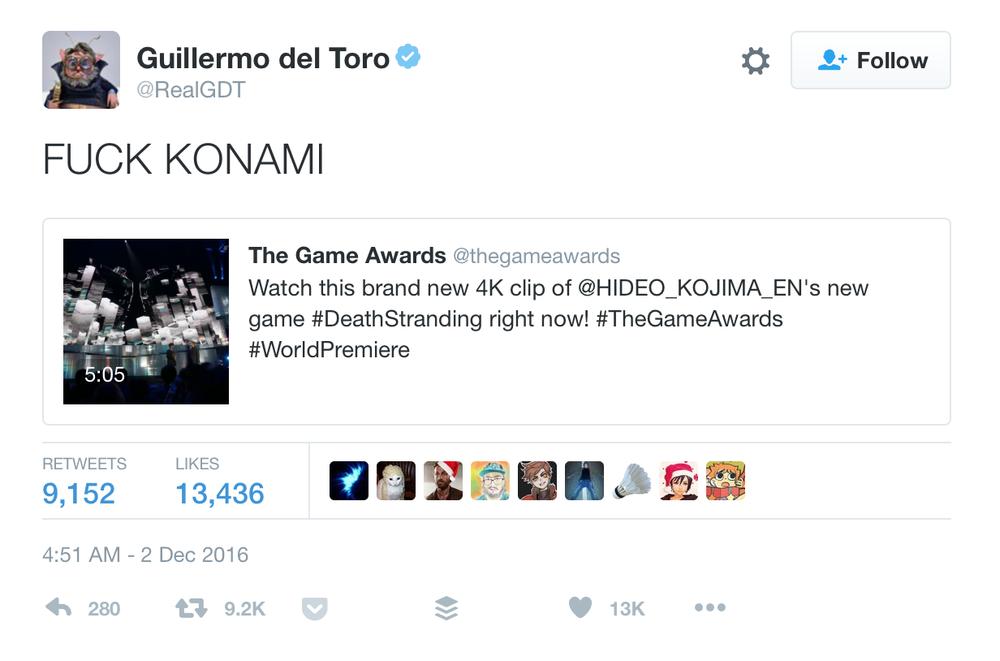 Guillermo del Toro on Twitter Dec. 2nd, 2016