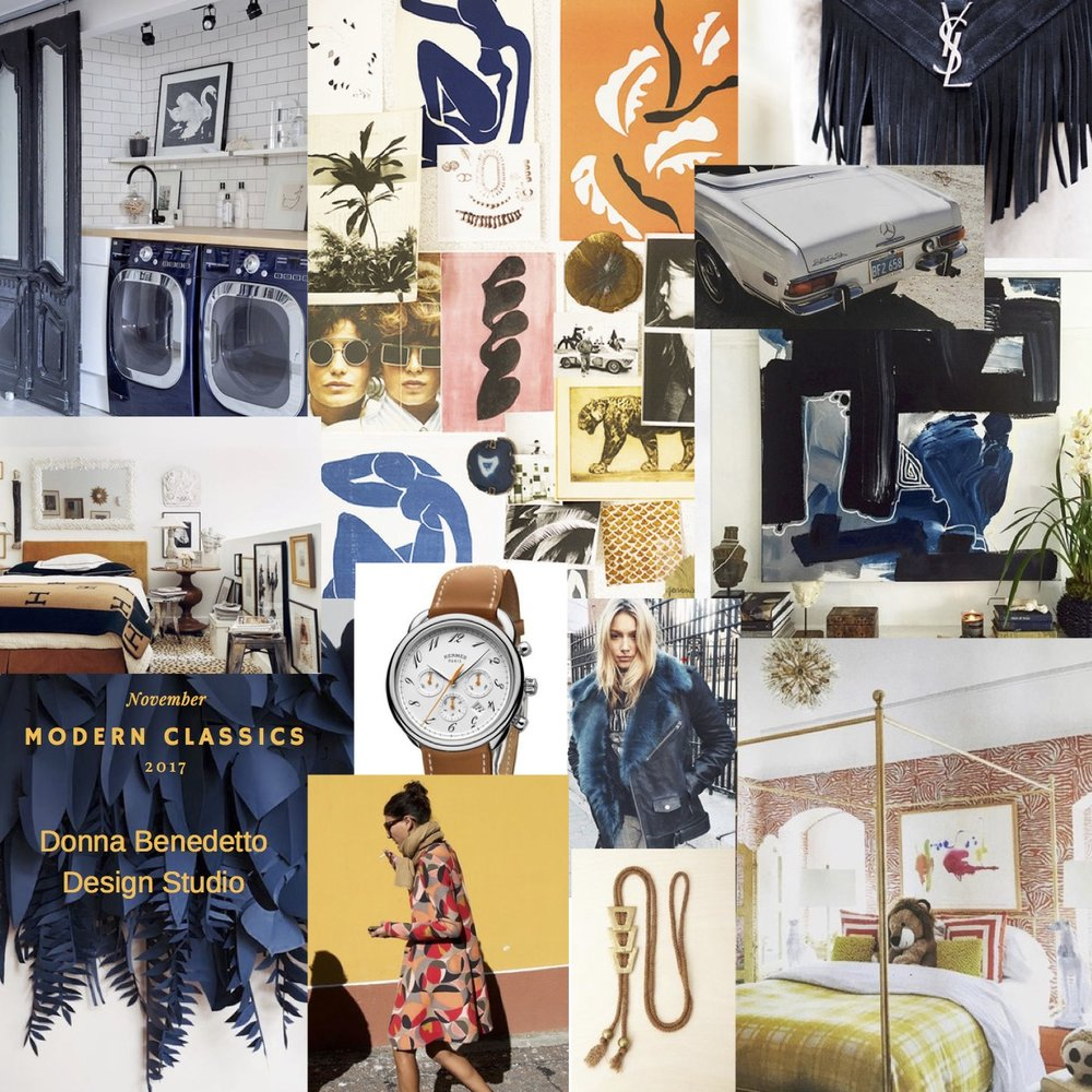 November - We are loving classic elements mixed in a modern way.  Navy, burnt orange, camel mixed with animal prints, trendy patterns and amazing artwork.