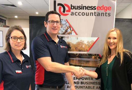Pictured above:  Celeste Peirce (BDM), Clayton Wood (Business Edge Accounting Director & Accountant), and Nikki Grae (Country Hope Albury).