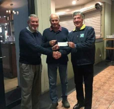 Photo:(L – R) Rod Whitlock (President) Alf Cuthbert (Trip Organiser) and Tom Looney (Country Hope)