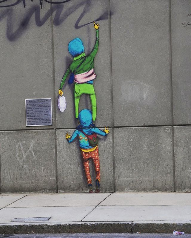 When #streetart is adorable. 👧🏼👶🏻👦🏽😻 #madeinnyc #brand #boston #style