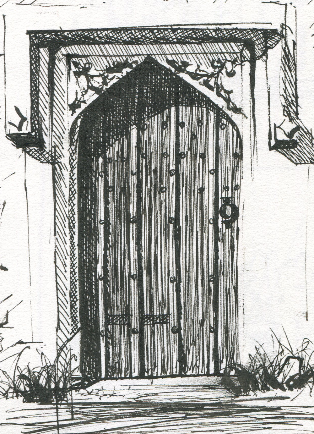 Pen and ink drawing of a door