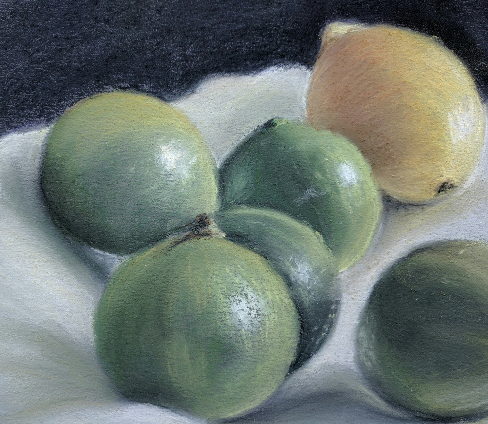 Limes and lemon in pastels