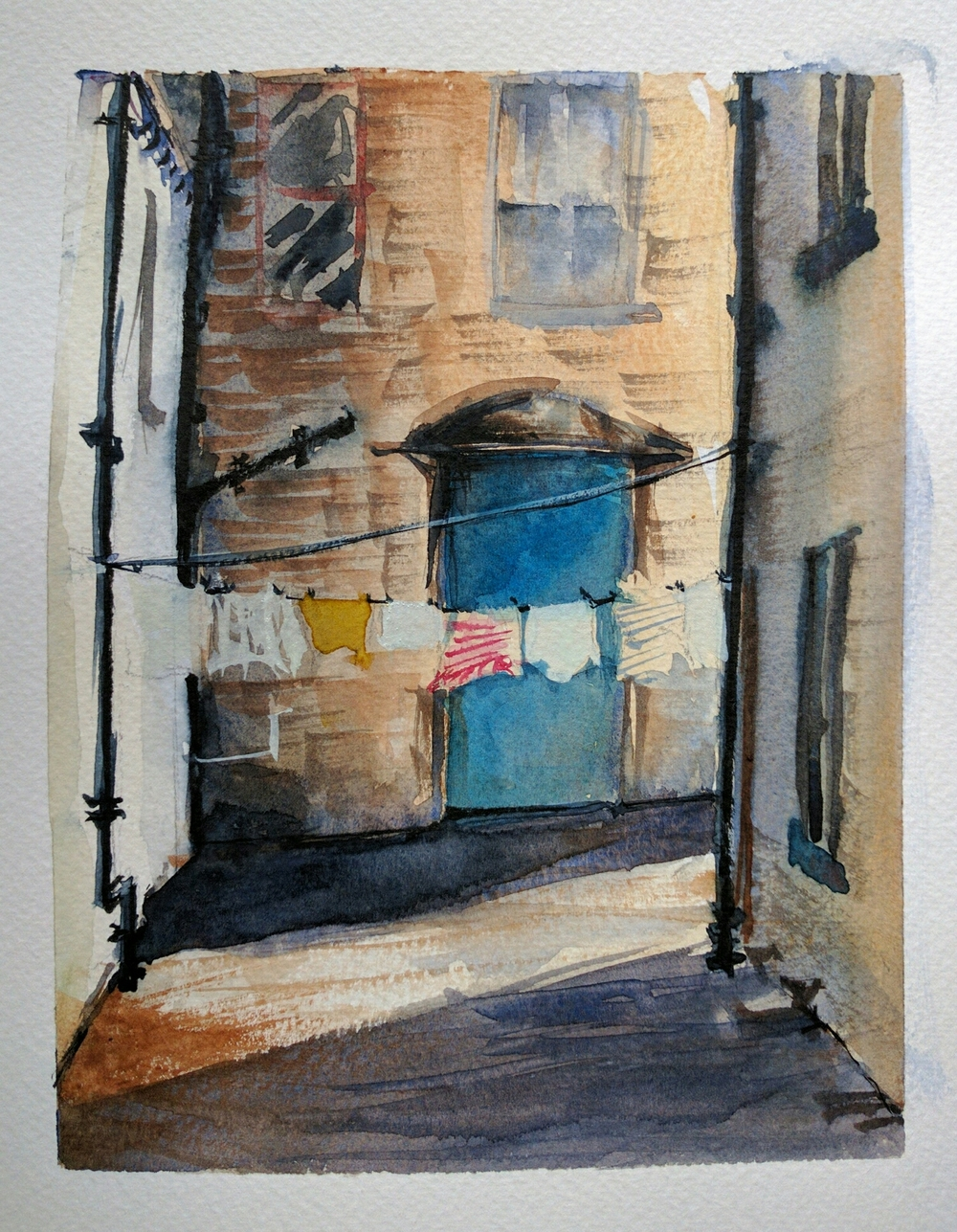 alleyway in watercolor