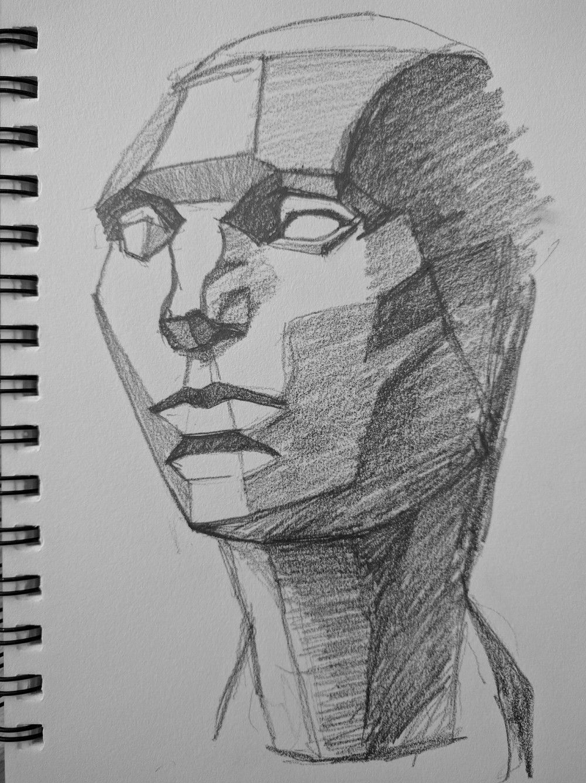 Asaro planes of the head in pencil