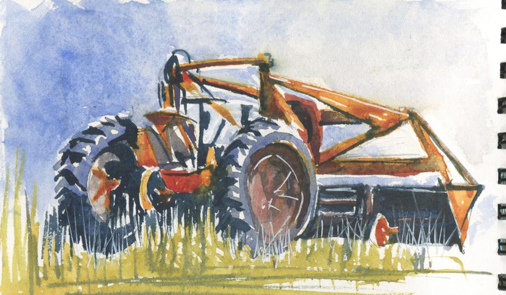 farm equipment in watercolor