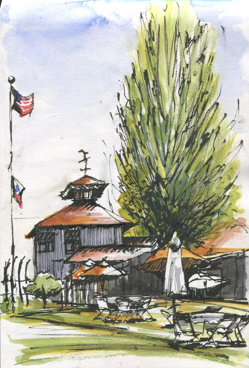 boathouse cafe sketch at shoreline park