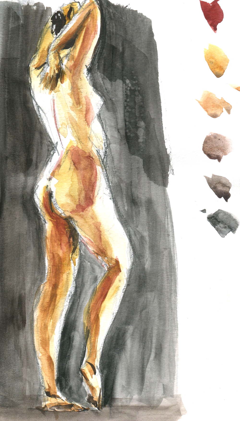 life drawing in earth tone artgraf watercolor graphite