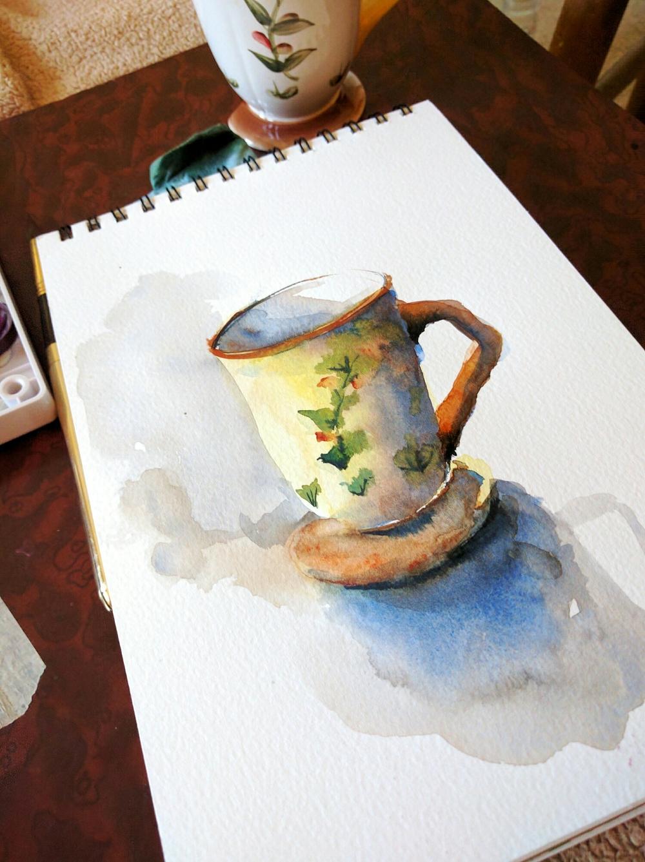 teacup in watercolor