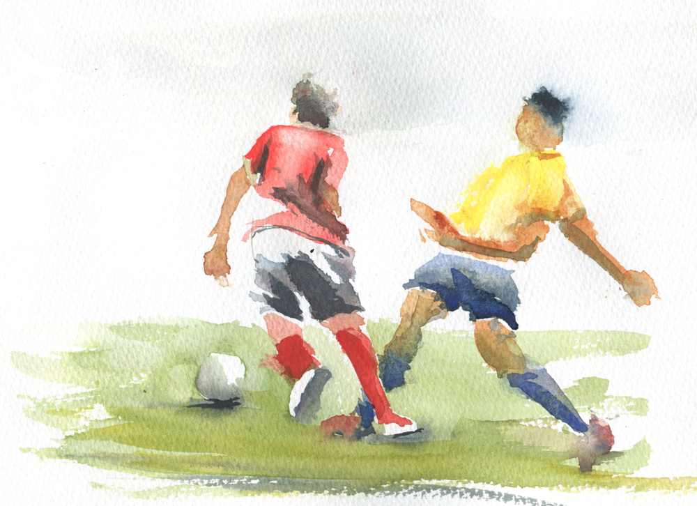 soccer in watercolor
