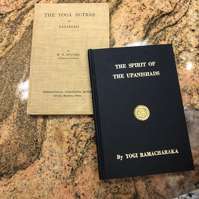 Fresh out of training with Srivatsa Ramaswami and we headed straight for Russell Books to see how we can continue learning! Picked up these beauties published around 1930 and can't wait to dig in! . .. ... .. .  #upanishads #yogasutrasofpatanjali #russellbooks #oneyogavictoria #oneyoga #yoga #pureconciousness #knowtheself #atman #cornerstoneyoga #cornerstoneyogacollective #cornerstoneyogayxj #alwaysastudent  @oneyogavictoria @ramaswamisrivatsa @cornerstoneyogacollective