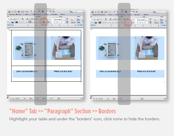 Hide Borders in Microsoft Word