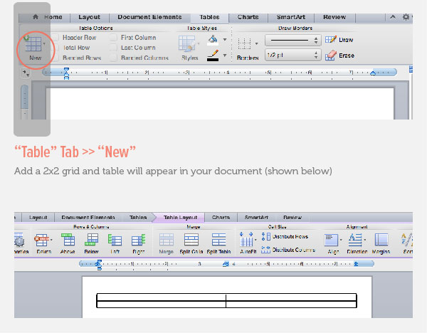 Creating a Table in Microsoft Word
