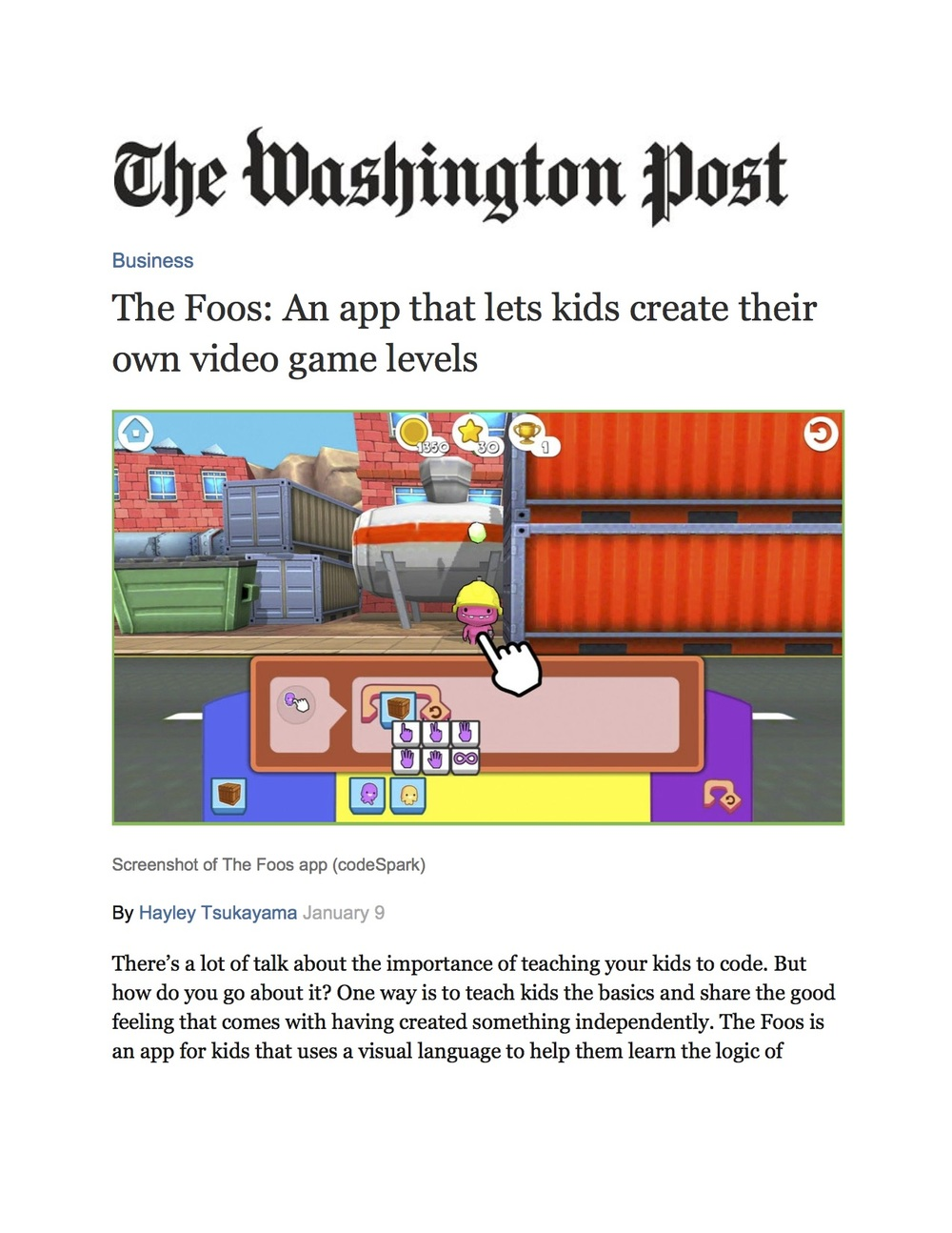 Product Feature: codeSpark, Washington Post