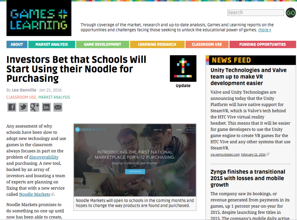 Funding: Noodle Markets, Games & Learning