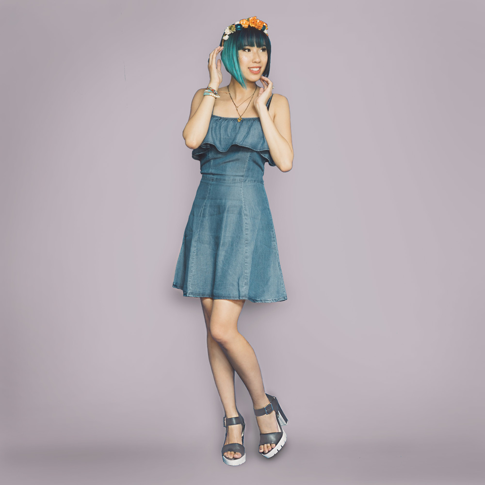 Dress :  Ashley Flirty Denim Dress    Shoes:   Lug Sole Platform Sandals    Flower Crown :  Ardent Reverie Headdress (similar)