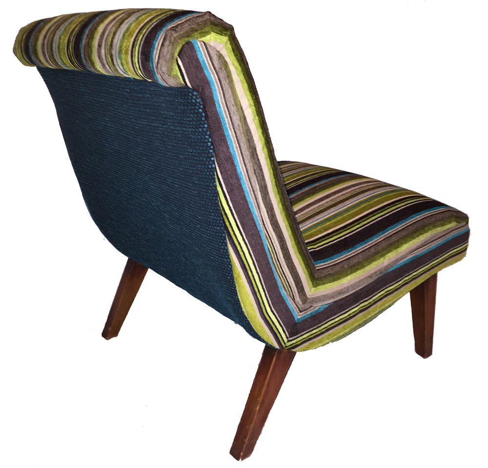 Superb Reupholstered Mid Century Slipper Chair. Striped ...
