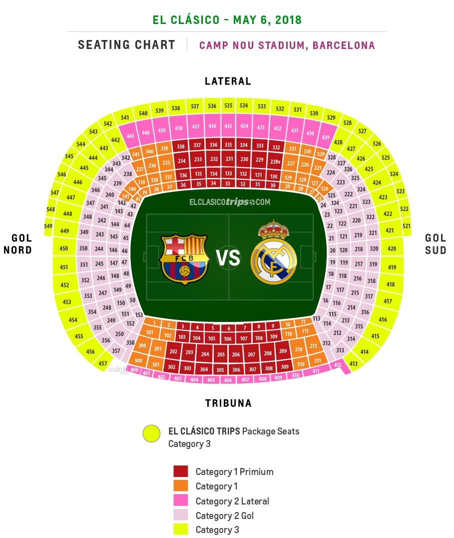 El Clasico FC Barcelona vs Real Madrid Seating Chart 2018