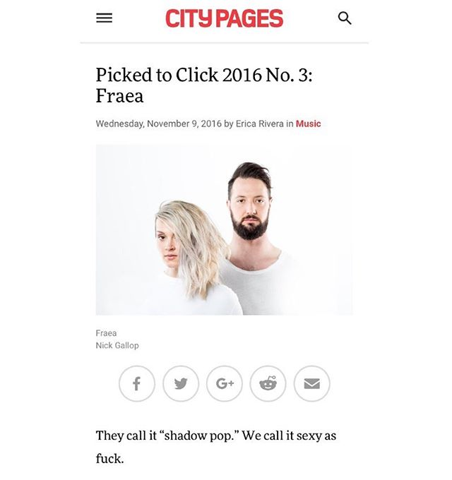 Hey @citypages, thank you for choosing us for this year's Picked to Click! And also for calling us sexy as fuck, that made me blush. Proud to share the honor with all these other talented and strong-voiced musicians. May we all keep using art to organize the madness, provide sound and word for feeling, and provide self-care and a touch down with beauty and relief within chaos. Love you all and congrats #zuluzuluu @gregrease @tonypeachka #colortv @nessnite @findingnovyon @dizzyfae #royalbrat @holidaempls @lunch.duchess !!!