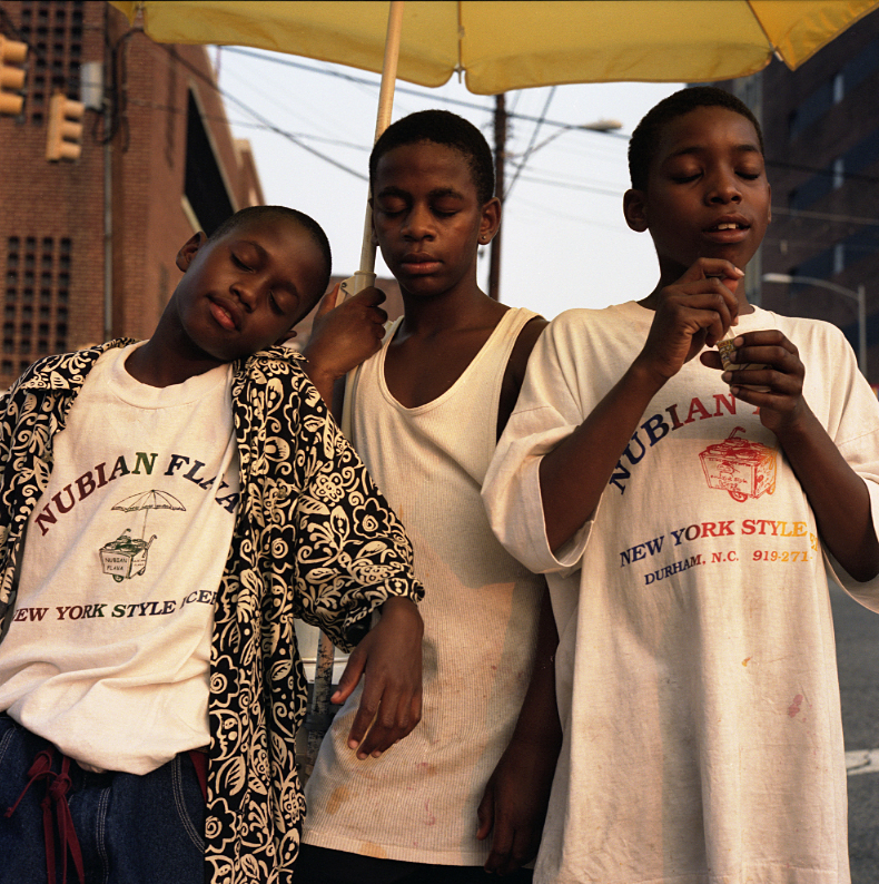 Elin O'Hara Slavick, Workers Dreaming, Antonio Battle, Keith Lawrence, and Arthur Clendenning, Nubian Flavor New York Style Icees Sellers, Durham, NC, 1999