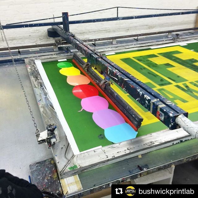 "this is just what i needed to see on a monday! ""rainbow pancakes"" of that heavily scented @nazdarsourceone 9700! it's a great ink, just gotta have proper ventilation. @bushwickprintlab killing it yet again with the huge prints! . . #Repost @bushwickprintlab ・・・ More rainbow pancakes #rainbowpancakes on a 60"" square image for John Giorno at Fine Art Printing LTD.  Nazdar 9700 enamel inks this time. #rainbowroll #johngiorno #nazdar9700"