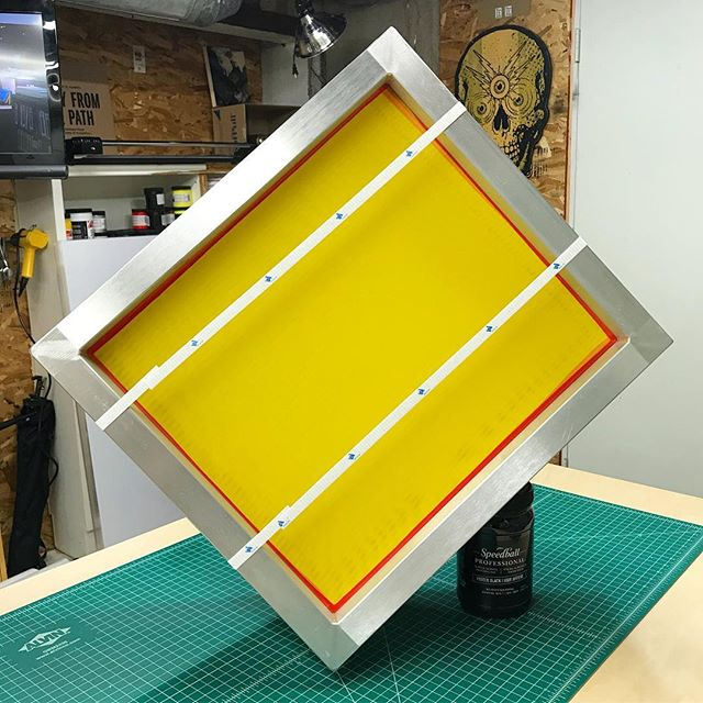 "it's fresh screen day at the @floodpull studio! that's (6) 18""x20"" 255 mesh screens. i paid $17 per screen delivered from an ebay seller called 'screenprintingsupplier'. i got these smaller screens for a special project, but i've been using screens from them for the past few years and have had great luck with them. if you're just getting started or just need some more affordable screens, check them out! i don't get paid by them, i've just had a great experience so i always want to pass that on. note: these aren't for everyone, so don't worry about telling me how these are no good or how you have to pay for quality — i know... this account was intended to make screenprinting accessible to everyone and this is a great resource for that. that said, where are you all getting your screens nowadays? #floodpull #screenprinting #silkscreen"