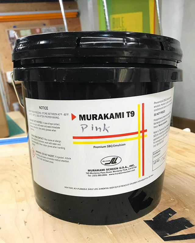 murakami t9! this is the emulsion i put in my story the other day (and have since had a bunch of people asking about since 😉). it's been our goto emulsion for about a year. here's why we're digging it: . . ✅presensitized photopolymer, so it's ready to use right out the bucket! ✅has a year+ shelf life, which is great for lower volume printers. ✅won't break the bank at ~$60-65usd a gallon. ✅wide exposure latitude. ✅holds up great to waterbased inks. ✅made by a great company with a solid track record. ✅high solids content for super simple coating. . . you can find it online at river city graphic supply, rc screen shop and northwest graphic supply! also, this is NOT a paid or sponsored post - i just really like this product and figured you all would like to know about it. . . what kind of emulsion are you using? what do you absolutely love about it? what could be better? where do you get it from? . . #floodpull #screenprinting #silkscreen