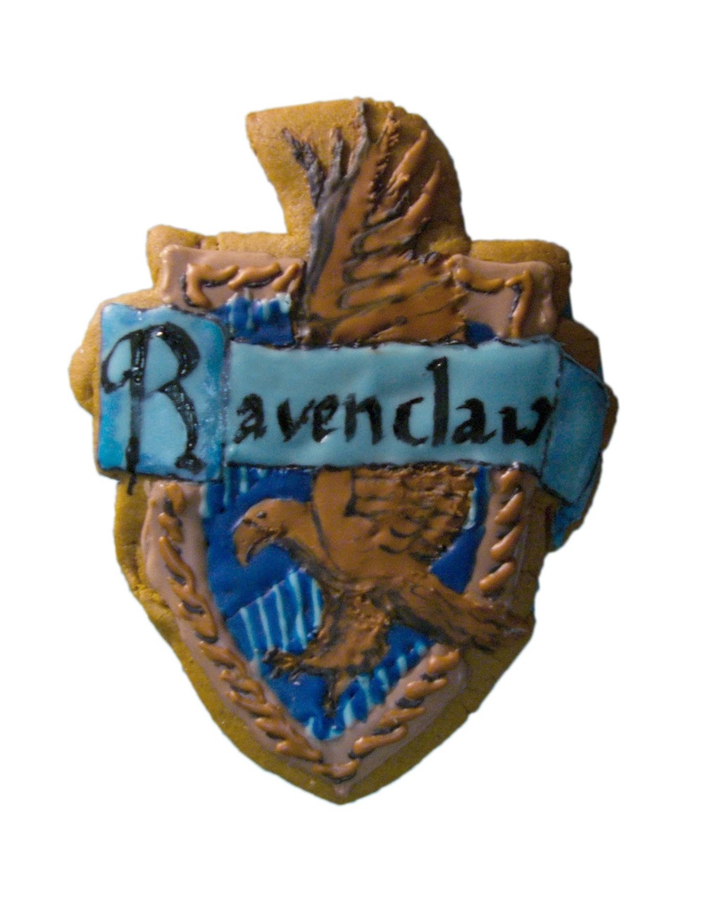 Ravenclaw House gingerbread cookie with hand-painted royal icing