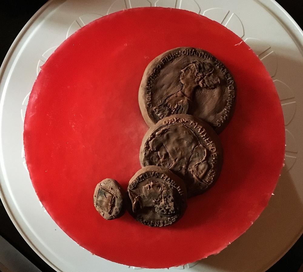 Rhubarb mascarpone medals cake