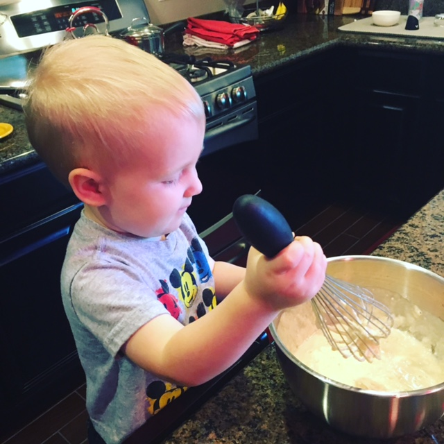 Whisking pancake batter is one of my boy's favorite things.