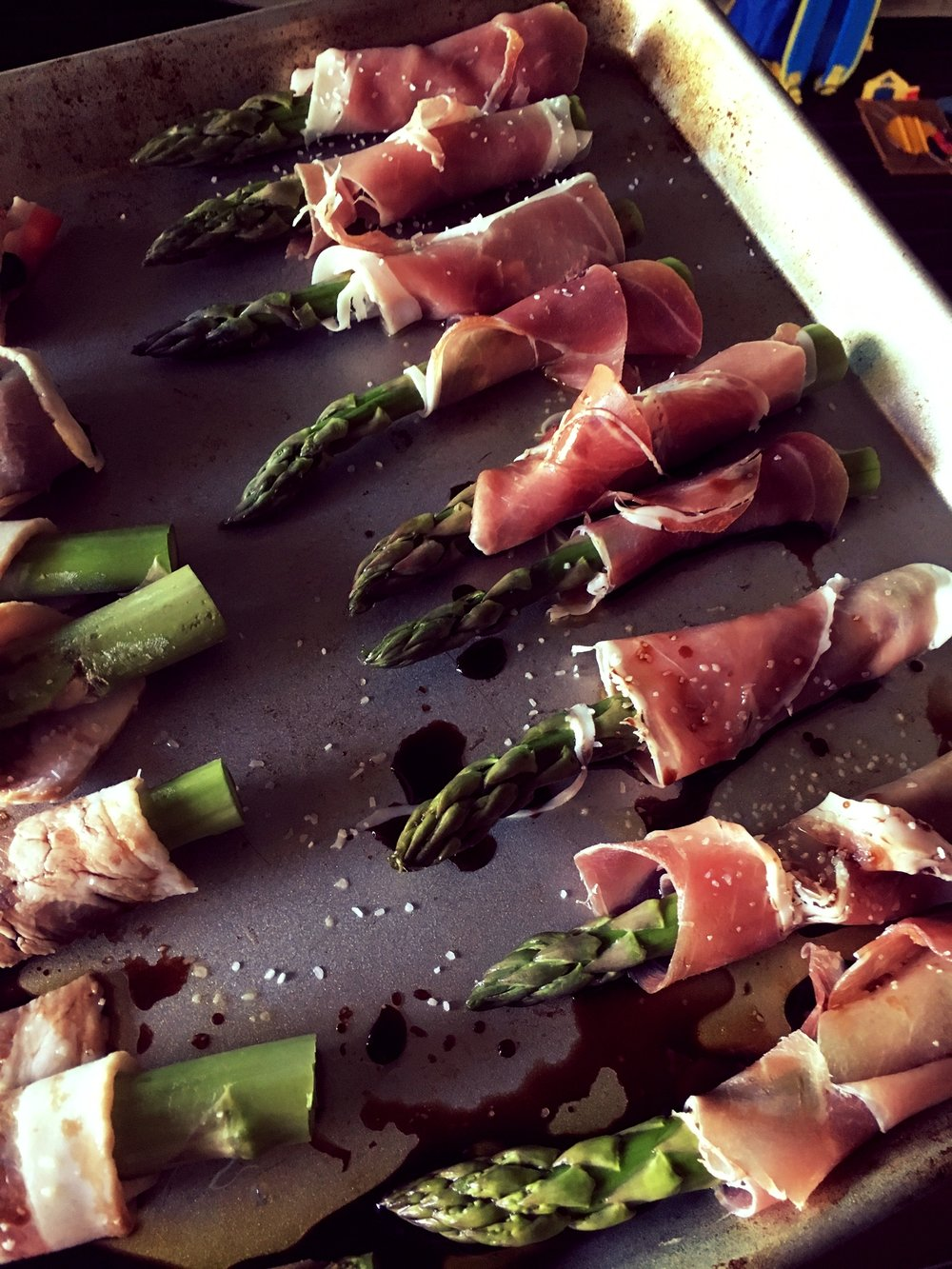 Our prosciutto-wrapped asparagus from Christmas.