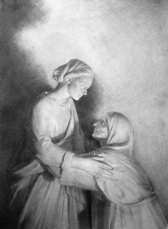 Nun and Old Woman / Pencil on Paper / 22x30 / 2014