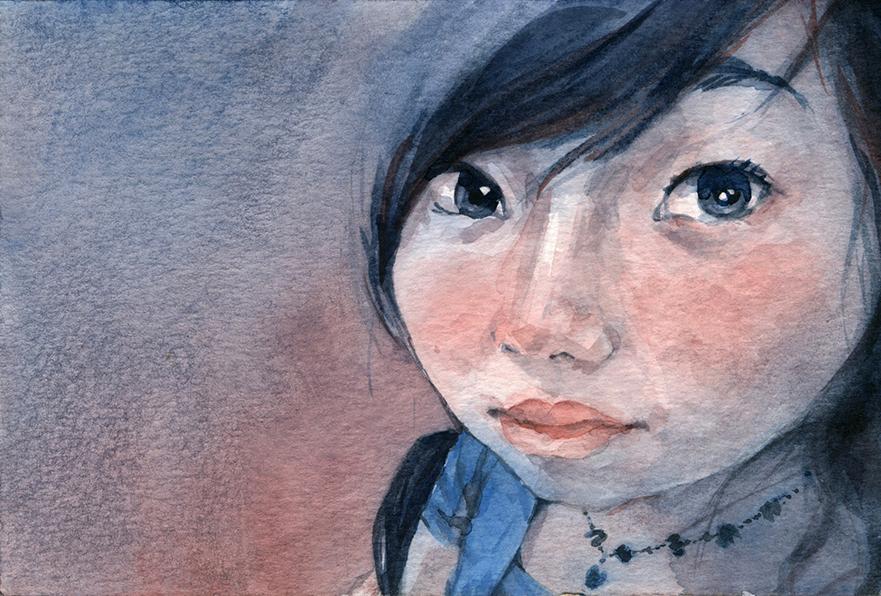 Jiajia 佳佳 / Watercolor / 4x6 / 2015