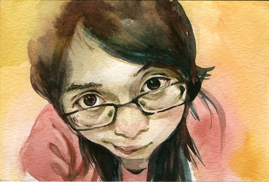 Self-Portrait / Watercolor / 4x6 / 2015
