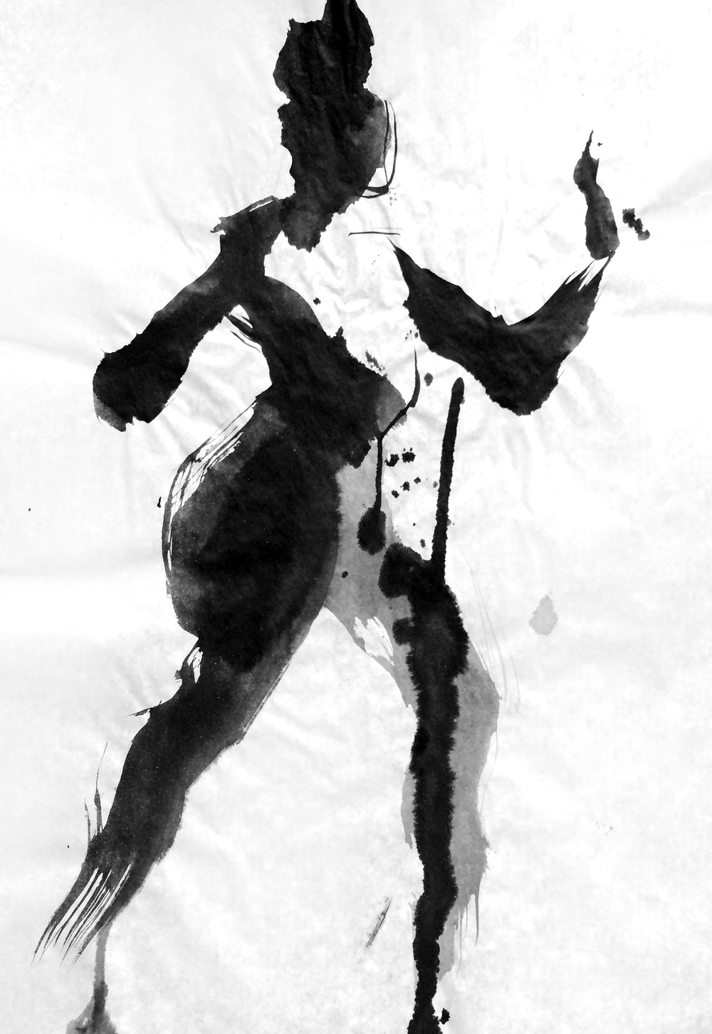 "Figure 2016 Sumi ink on rice paper 10.25""x15"""