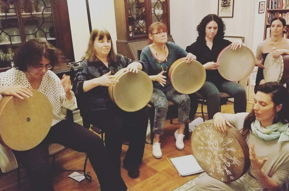 Monday nights on the upper west side, women's frame drum class